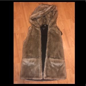 Zara Faux Fur Vest with hood